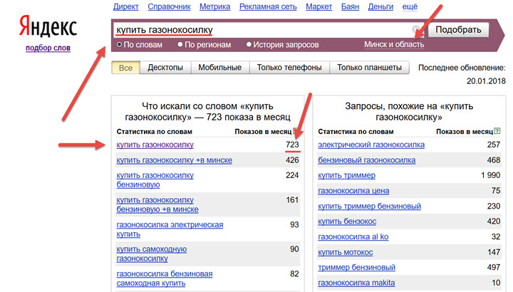 Скриншот с сайта wordstat.yandex.by