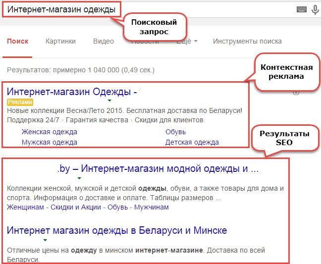 Страница результатов поиска в Google