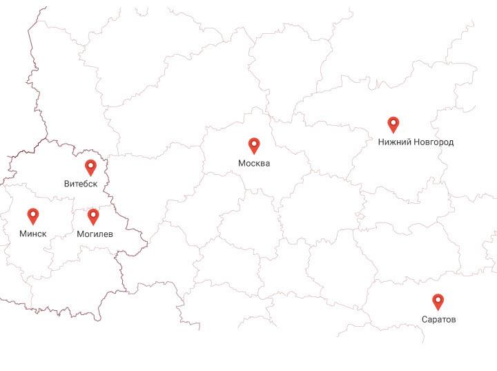 Карта офисов компании