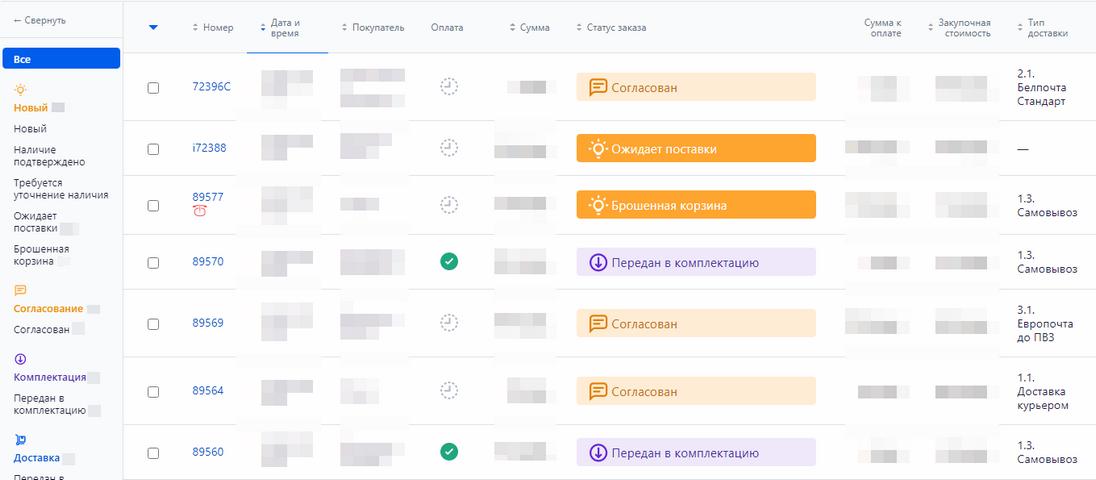 Скрин рабочей панели менеджера вRetaiCRM вecobar.by