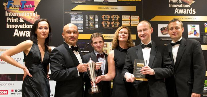 """Представители """"Унифлекс"""" во время вручения Гран-при конкурса FlexoTech International Print&Innovations Awards, Лондон, 2013"""