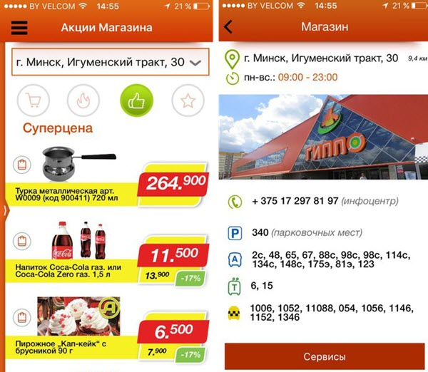 Скриншот из приложения Гиппо