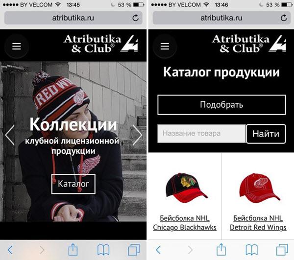 Скриншот с сайта atributika.ru
