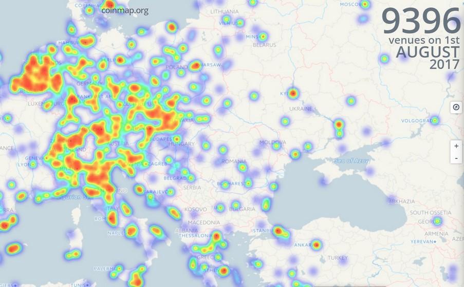 Карта биткоина от CoinMap