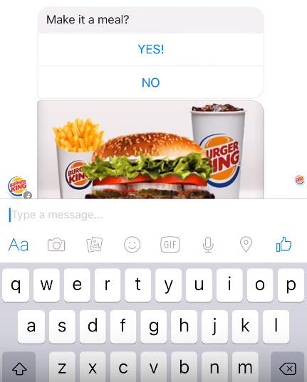 Демо-версия чат-бота Burger King
