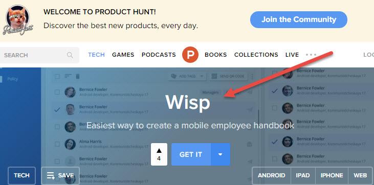 Скриншот с www.producthunt.com