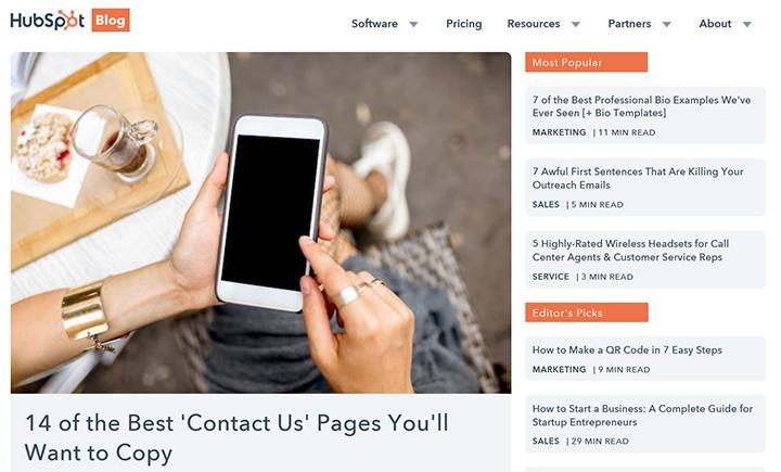 Скриншот сайта blog.hubspot.com