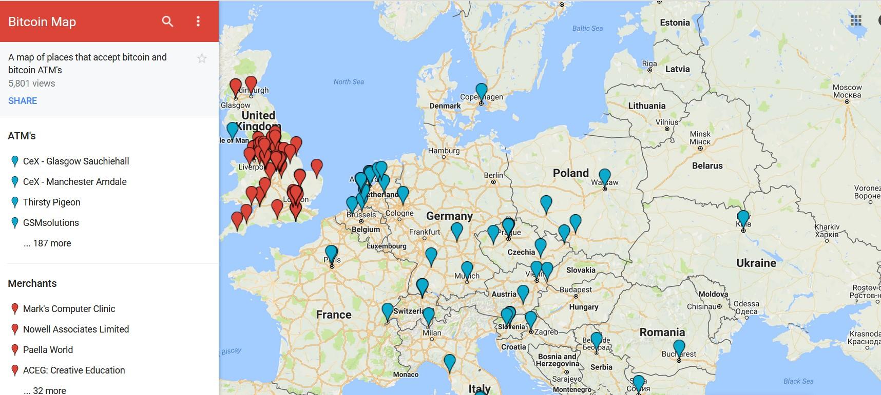 Карта биткоина от Google