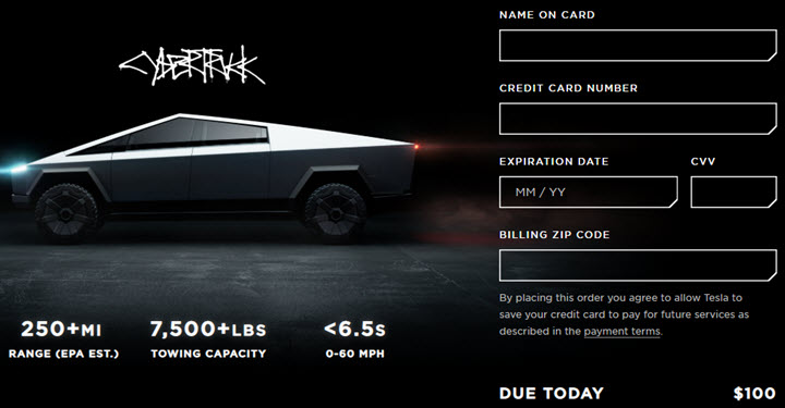 Скриншот с сайта tesla.com