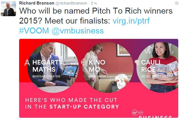 Скриншот из Твиттера Ричарда Бренсона