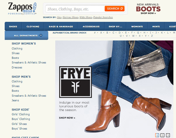Скриншот с сайта zappos.com
