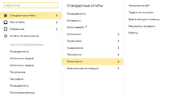 Стандартные отчеты: мониторинг. Скриншот предоставлен экспертом
